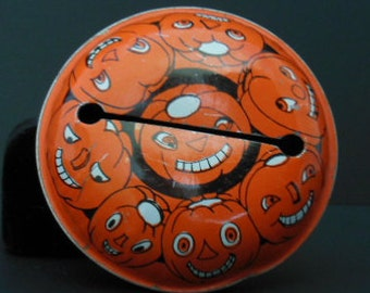 1950's Halloween Noisemaker, Vintage Halloween Graphics, Jack O'Lantern Rattle, Round, Red Wooden Handle, Collectible Old Halloween Decor
