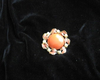 Vintage circle pin/brooch; circular orange center stone; pearl-studded, enamel and gold tone
