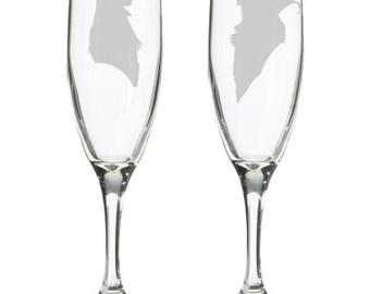 Labyrinth Jareth & Sarah wedding champagne flutes, toasting glasses, nerdy geeky wedding gift, Goblin King Toby, labyrinth worm, David Bowie