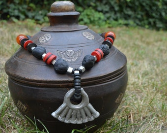African bead and Volcanic necklace