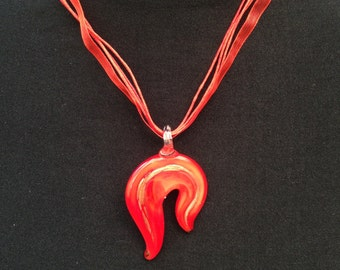Red & Gold Murano Glass Pendant Necklace