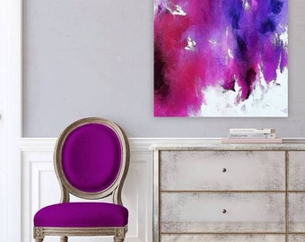 """Original painting, abstract art, bright colors, blue, purple, magenta, pink,  red, white, 24x30"""", gallery wrapped canvas"""