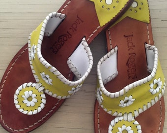 Jack Rogers Palm Beach Navajo Leather Sandals in Yellow and White