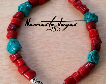 Coral necklace and turquoise