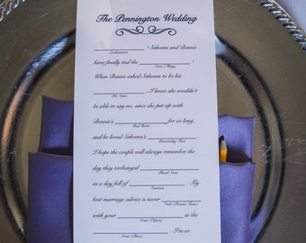 Wedding Mad Lib - Fill in the blank game for your guests