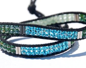 Aquamarine & Green Chinese Crystal Bracelet