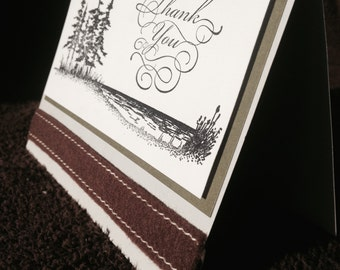 Lakeside Thank You Card, Thank You Stamped in Beautiful Script, Lake Thank You Card with Brown Ribbon Embellishment