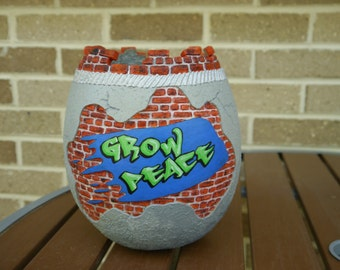 Carved Graffiti Peace Gourd