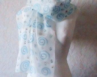 Silk Scarf, Silk Scarf blue handpainted , Hand painted silk scarf,  silk Scarf, blue  silk, silk  scarves lasoiedemissvalerie