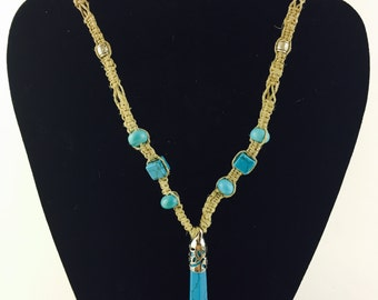 Turquoise Hemp Necklace