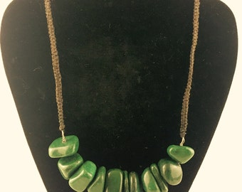 Malachite Black hemp necklace