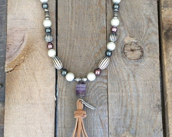 Juliette-Amethyst Tassel Necklace
