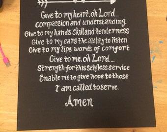 Nurses Prayer Canvas/nursing/love/faith/inspiration/decor/home/gift/graduation/wall art/art