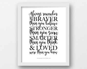CHARITY, Always remember, Winnie the Pooh, PRINTABLE, Quote print, Disney quote, Minimalist, Modern wall art, Proceeds to Cystic Fibrosis