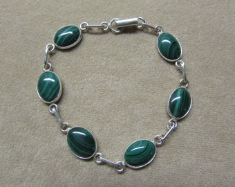 Gorgeous Malachite STERLING silver 6-stone bracelet.