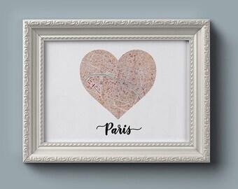 Paris Heart Map (Digital Printable)