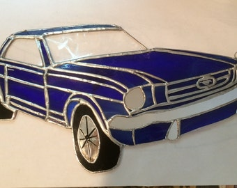 Blue Stained Glass Mustang
