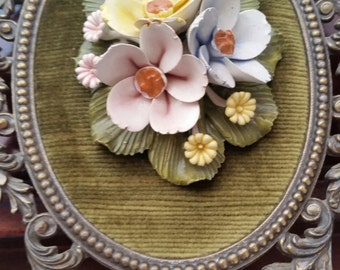 Vintage Brass Wall Decor with Porcelain Flowers