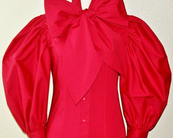 Extra Long 3/4 Puffy Sleeve Bow Blouse With Large Bow Tie