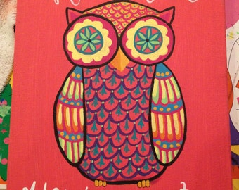 Hoot Hoot You're Cute Chi Omega Colorful Owl Canvas