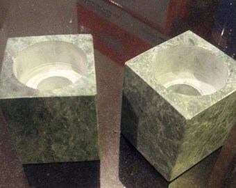 Pair of Great candle holders.  Genuine Stone...Marble or granite.