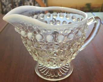 Vintage Moonstone Opalescent Hobnail Glass Creamer by Anchor Hocking