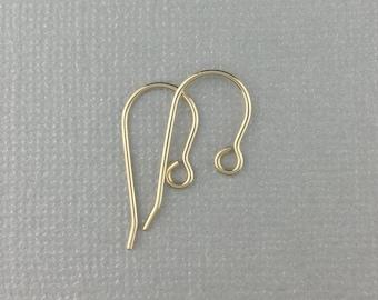 14k Ear Wire, Solid Gold Ear Wire, Gold Earwire, Hypoallergenic Ear Wire, Hypo-Allergenic Earwire, Solid 14 Karat Gold