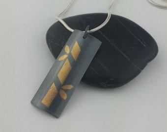 Bamboo Pendant, Keum Boo Pendant, Gold and Black Pendant, Bamboo, Fine Silver, Gallery Line, Award Winning, 23.5k Gold, Patina, Oxidized