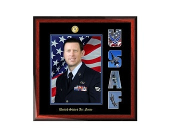 USAF Picture Frame with Air Force Collage Letter Military Wall Photo Plaque Soldier Promotion Retirement Serviceman Present Item MF1