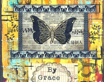 Mixed Media Collage Art Giclee Print - Grace Alone