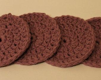 Handmade Crocheted Purple Coasters - Set of 4