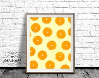 Orange Wall Art, Kitchen Print, Orange Art Print, Fruit Printable, Orange Printable, Digital Art Print, fruit Poster