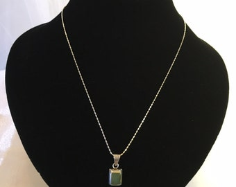 Sterling silver light jade necklace