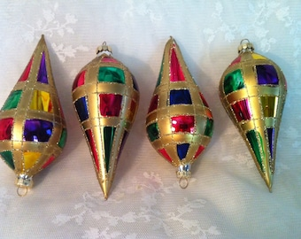 Vintage RAUCH ~ 4 Colorful Tear Drop Hand Painted Ornaments