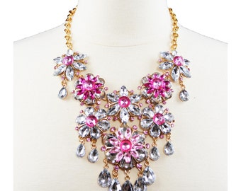 Gold Fashion Jewelry wih Rhinestones Statement Necklace for Women