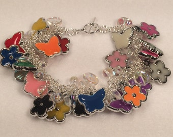 Butterfly and Flower Bracelet with Glass Beads
