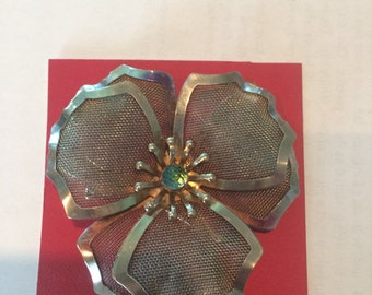 vintage silver mesh flower brooche