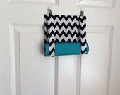 ROMAN SHADE/CURTAIN for Teacher Classroom Door - Privacy/Safety/Lockdown  - Black Chevron with Turquoise