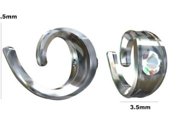 Sterling Silver 7.5x3.5mm Round Bail With Crystal PK1 PK5