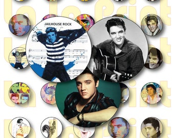 """30 Elvis Presley Digital Party Stickers Circles size 1"""" and 2"""" sheet A4 (8.5''x11'') Bottle Cap images Cupcake Toppers"""