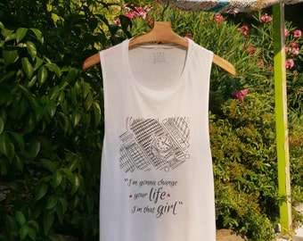 """Sleeveless Knit Top """"Change your life"""""""
