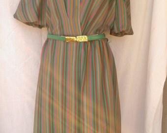 Vintage Striped A-Line Dress