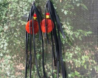 Bike Tube Fringe Earrings w/ Beads