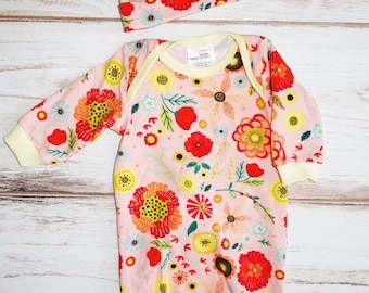 Baby girl outfit for spring - 3 mos girl clothes for spring - baby girl pajamas - baby girl gown - baby gift - baby girl coming home outfit