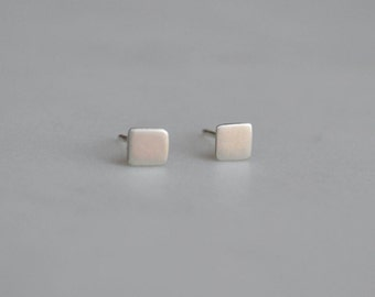 Square Sterling Silver Ear Studs | Silver Square Earrings | Small Stud Earrings | Silver Stud Earrings