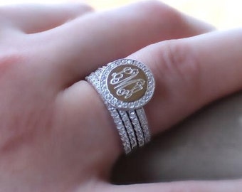 Stackable monogram ring