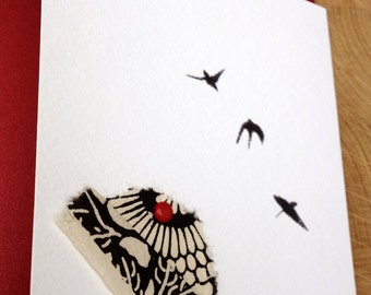 Good luck cards, Hand-made cards, Special cards, thread cards, Eyelets cards