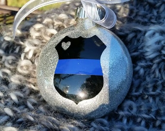 Thin blue line, police gift, police wife, police officer gift, police ornament, thin blue line ornament, glass ornament, glitter ornament