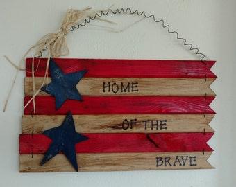 Handmade Antiqued hanging wood flag