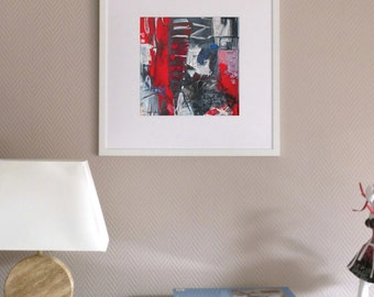 Small print, abstract art, design, red, black, modern fine art, acrylic painting, giclee print, contemporary art, ink jet, grey, graphic
